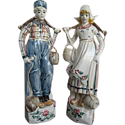 Hand-painted Glazed Ceramic Holland Boy & Girl Figurines - Signed