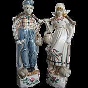 Hand-painted Glazed Ceramic Holland Boy & Girl Figurines - Signed