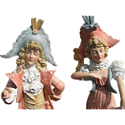 German Bisque Regency Style Man & Lady Figurines - Early 1900's - #1295