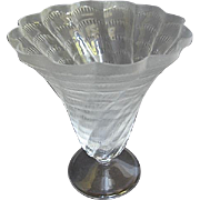 "Lalique Frosted Glass Trumpet Vase ""Lucie"" Design - A125 - Retired - France"