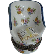 Limoges hand-painted Chair w/Floral Design, w/Book trinket box - signed - France