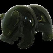 Vintage Green Nephrite  Jade  Alaskan Carved Bear w/Salmon figurine