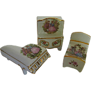 3 pc. Limoges Dollhouse Furniture - made in France - signed