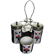 Antique 19th c. Imari Porcelain Salt, Pepper, Mustard Pot Set w/EPNS Silver Caddy - Made in England