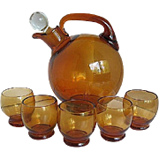 Cambridge Amber Ball Decanter w/5 cordial glasses