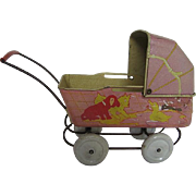 Wyandotte Tin Litho Pink small Doll Buggy - 1940 era