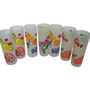 Federal Frosted Tom Collins tall glasses - Fruit Motif - Set of 7 - 1950-60's era