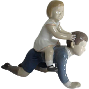 "Bing & Grondahl Royal Copenhagen - Brother & Sister ""Let's Play Horsey"" Porcelain Figurine  2303 LA - Denmark"