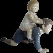 """Bing & Grondahl Royal Copenhagen - Brother & Sister """"Let's Play Horsey"""" Porcelain Figurine  2303 LA - Denmark"""