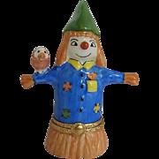 "Limoges Porcelain ""Scarecrow"" w/bird figurine trinket box - hand-painted - France"