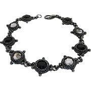 Marcasite Bracelet with inlaid Clear and Black stones - signed Worthington