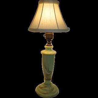Mid Century Slag Glass Lamp - Light green w/brown marbleized design - Works Great!