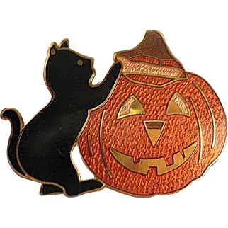 Black cat climbing on Pumpkin Halloween Pin - Enameled on Brass - Wendell August - Will ship Priority Mail!!