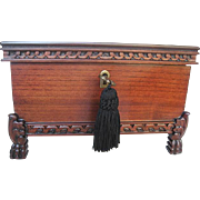 Exquisite Footed Ashford Carved Wood Jewelry Box with Key