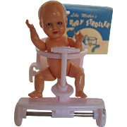 "1950's Jeryco Pink Dollhouse Baby Stroller ""Just Like Mothers"" w/celluloid Jointed Doll made in Italy"