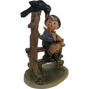 "Vintage Hummel ""Mischief Maker"" Boy on Fence with a Crow"