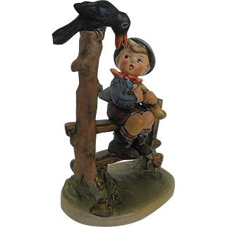 """Vintage Hummel """"Mischief Maker"""" Boy on Fence with a Crow"""