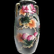 """Royal Nippon Hand-painted """"Nishiki"""" Peonies & Leaves 9 1/2"""" Vase - signed"""
