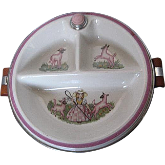 Bartsch Porcelain and Chrome Plated Little Bo Peep Childrens Divided Warming Feeding Dish & Lid - 1940's-50's era - USA