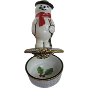 "Limoges Snowman ""Frosty"" Fine porcelain hinged Trinket Box Figurine - Hand-painted - made in France"