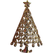 Tancer II Christmas Tree Pin w/iridescent stones - signed Tancer II