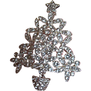 Clear Rhinestone Christmas Tree Pin - Original Gift Box - Merry & Bright