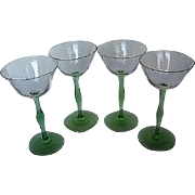 Vintage Optic Swirl Green Stemmed Cocktail Glasses - Set of 4 - Handblown