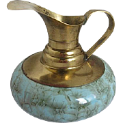 Vintage Delft Holland Porcelain & Brass Aqua Blue Ewer Pitcher - Hand glazed metal oxide details
