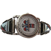 Native American Ladies wrist watch - Multi colored inlay precious stones - signed by artist