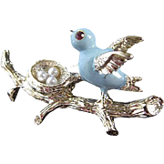 Enameled & Rhinestone Blue Bird w/faux Pearl Eggs in Nest Brooch - signed Gerry
