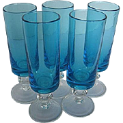 Vintage Blue Barware Turquoise Cordial/Tall Shot Glasses - 1940's era - Set of 5
