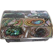 Hecho en Mexico Alpaca Abalone Redwood Trinket box - Early 1930's era