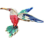 Colorful Humming bird pin w/Enamel and Rhinestones