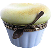 Limoges Cheese Souflee in Ramekin w/spoon closure Trinket Box - Hand-painted - France