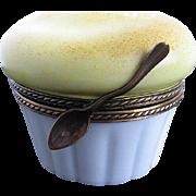 Limoges Cheese Souflee in Ramekin w/spoon closure Trinket Box - Hand-painted - France