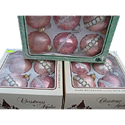 Christmas by Krebs Ornaments - Hand Decorated Glass with Crowns - Seven Boxes - 30 ornaments