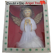 Vintage Doubl Glo 70's Hard Plastic Christmas Angel Tree Topper w/Original box