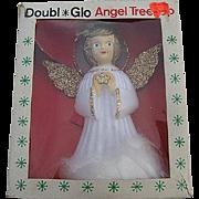 Vintage Doubl Glo 70's Hard Plastic Christmas Angel Tree Topper w/Original box