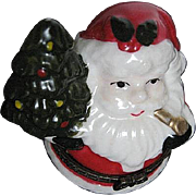 Santa Claus Holding a Christmas Tree porcelain Trinket box