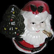 Santa Claus Holding a Christmas Tree porcelain Trinket box