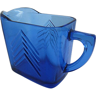 Vintage Cobalt Blue Glass Creamer from the 1940's era
