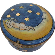Hand painted Limoges Cobalt Blue Sky w/gold Stars & Cherub Sleeping on Half Moon Trinket Box - made in France