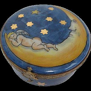 Hand painted Limoges Cobalt Blue Sky w/gold Stars & Cherub Sleeping on Half Moon Trinket Box - made in France