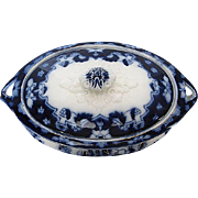 Antique Royal Staffordshire Pattern Flo Blue Casserole/Tureen Serving Bowl - Burslem England - late 1800's