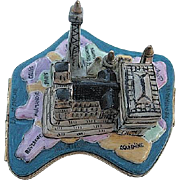 Paris Landmarks on Map of France Limoges Box - Retired
