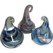Murano Hand-blown Glass Marbleized Candy Kisses - Set of three
