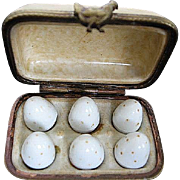 Hand painted Porcelain Limoges Carton of six speckled eggs - made in Limoges France - Retired