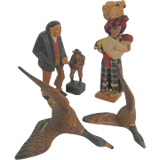Assorted Hand Carved Wood figures
