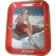 Vintage 1941 Drink Coca-Cola Skater Girl Tray - made in USA