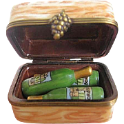 Limoges hand-painted wine crate w/three bottles of wine - made in France - LaGloriette